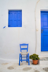 Blue and White (Michael Rugosi) Tags: door blue white house window island chair greece mykonos