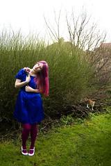 Flickrversary! (evilibby) Tags: pink flowers blue green girl cat garden kitten stocks human libby 365 pinkhair barney pinkandblue gingercat blueandpink stocki 365days 3652 stocka gingerkitten barnabee fuschiaandwhiteheels flamengopinklarichedirections stockb