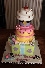 Littlest Pet Shop inspired Stacked Party Cake (Andrea's SweetCakes) Tags: dog fish cherry puddle treats bubbles dogfood cupcake birthdaycake bones present nametag pawprints animalcollar littlestpetshop loopybow drippyicing