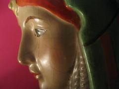 Pot-head (LyndaGray) Tags: china vintage profile pot ornament 1940s cheap trinket headdress egyptianstyle femalehead