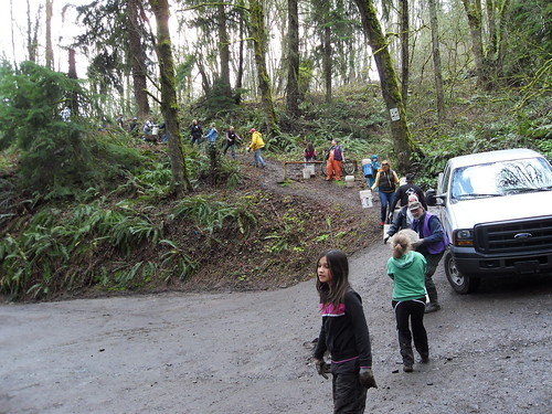 The bucket brigade at Forest Park last March (PGE)