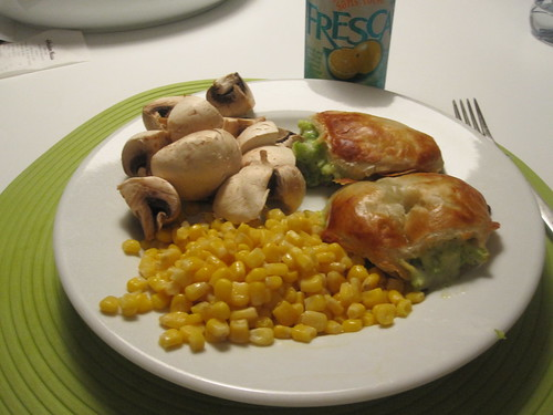 Mushrooms, corn, broccoli turnovers