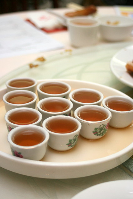 Perfect palate cleansers - little cups of thick Chinese tea