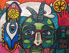 horned man with dolphin (giveawayboy) Tags: house mountain snow man mountains art wheel norway pen hand drawing dolphin horns disk r marker fjord sharpie horn creature sleeve patches მთა