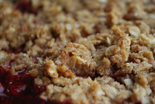 Close-up of the Crisp on the Rhubarb Raspberry Crisp