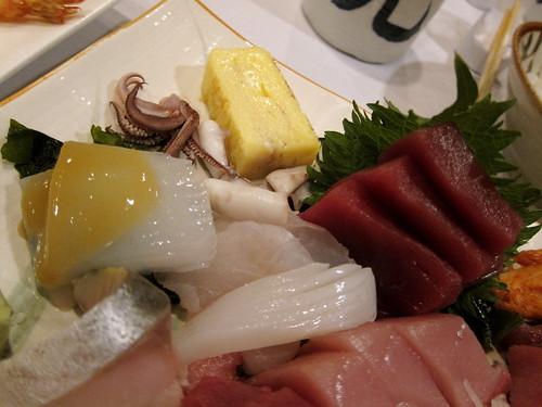 konjac, squid, tuna, egg