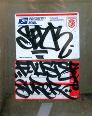 On the Upper West Side (LoisInWonderland) Tags: newyorkcity streetart graffiti sticker manhattan handstyle