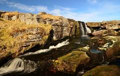 EAST DART WATERFALL (russell D7000 (D80)) Tags: park blue sky water beauty river flow waterfall movement east formation devon national grasses lichen picturesque dartmoor dart mosses rnbeastdart sunlitmorning