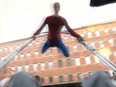 Rickshaw Spiderman NYC (erndb) Tags: city nyc newyork canon real pov spiderman pointofview hero superhero freerunning gothamist shaun rickshaw marvelcomics aerosmith parkour s90 acrobatic funrun powershop dbphotography thememusic rickshawshaun