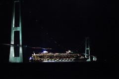 Oasis of The Seas, the worlds largest cruise ship sails under The Great Belt Bridge, Denmark. (Robert R&N) Tags: bridge newyork denmark oasis cruiseship unveiling royalcaribbean greatbeltbridge storebaeltbridge storebeltbridge oasisoftheseas korsordenmark