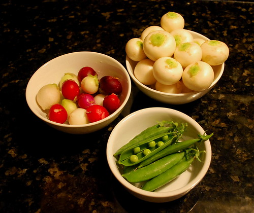 radishes, turnips and peas
