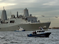 USS NEW YORK - NYPD HARBOR - AVIATION ESCORT (kevinh_photos) Tags: ny newyork harbor ship aviation worldtradecenter 911 navy nypd helicopter hudsonriver uss nleomf nationallawenforcementmemorial ussnewyork kevinhphotos 2011911triburecalendar