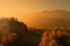 (Christoph Zurbuchen) Tags: travel autumn light sunset shadow red summer sky orange sun sunlight mist mountain black alps color tree art nature beautiful beauty silhouette fog stone sunrise landscape outdoors golden switzerland nikon swiss background horizon country hill scene panoramic ridge land environment serene majestic range tranquil berner scenics oberland d90 concordians dragondaggeraward yourwonderland coth5
