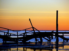 Natures Power (JackieG...) Tags: ocean wood old blue sunset orange reflection water waves fishingpier natureslight corpuschristitexas
