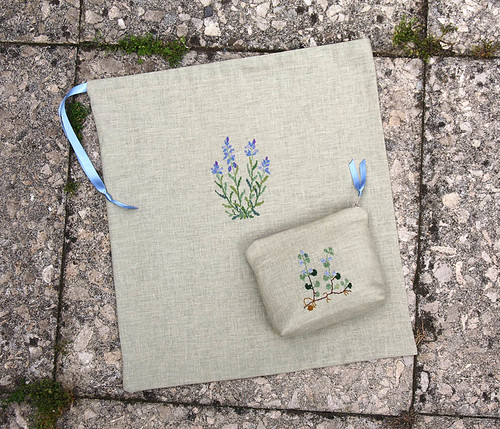 Embroidered pouch and shoe bag