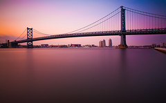 The Hours That Remain (chris lazzery) Tags: longexposure bridge sunset philadelphia newjersey twilight pennsylvania camden 5d benfranklinbridge delawareriver canonef1740mmf4l bw30nd
