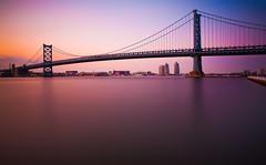 The Hours That Remain (chris lazzery) Tags: longexposure bridge sunset philadelphia newjersey twilight pennsylvania camden 5d benfranklinbridge delawareriver canonef1740mmf4l bw30nd