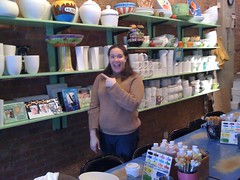 Emily loves pointing at pottery