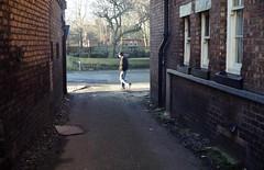 pgm529 (the underlord) Tags: sunlight man film walking alley kodak path pedestrian rangefinder 200 yashica ormskirk westlancashire yashicaelectro35gt