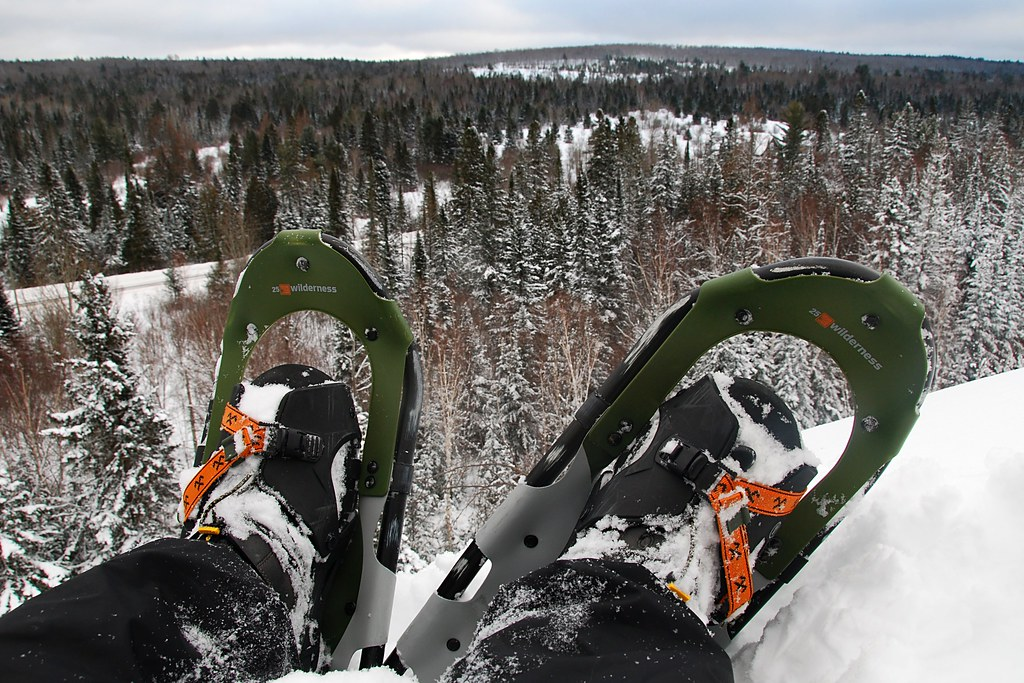 My feet, in snowshoes, overlooking a winter landscape.