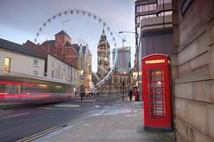 Sheffield Wheel from Leopold Street (Paul Newcombe) Tags: street city longexposure red urban bus wheel night traffic dusk sheffield bigwheel phonebox traffictrails sheffieldwheel sheffieldbigwheel