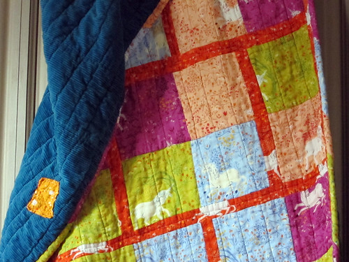 patchwork on quilt back