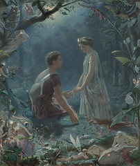 "John Simmons (1823-1876), ""Hermia and Lysander, a midsummer night's dream"" (sofi01) Tags: art fairytale painting magic fineart shakespeare fairy fairies britishartist johnsimmons victorianpainting"