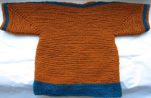 Orange & Blue Baby Surprise Jacket -- Back