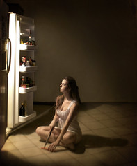 Sinister Magnetism (Leah Johnston) Tags: woman love kitchen girl dark fridge poetry poem leah sinister fineart suicide knife evil refridgerator poet carrot blade portfolio poems corpse magnetism johnston whitedress gregorycrewdson leahjohnston leahjohnstonpoetry leahjohnstonphotography poetryset