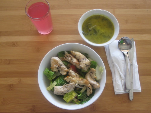 Beef and rice soup, sesame chicken salad, lemonade