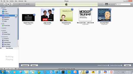 itunes 9 podcast window
