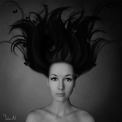 293/365 (YULIA M) Tags: people bw selfportrait monochrome self hair blackwhite butterflies crazyhair 365days yuliam yuliamustakimova