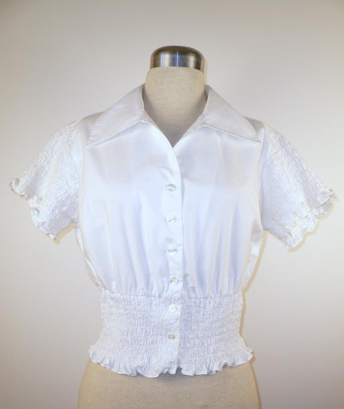 Front Close - Cute Cropped Cotton Blouse with Ruched sleeves and waist