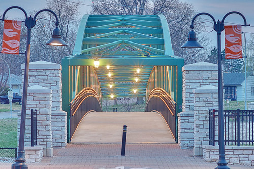 River des Peres Greenway, in Saint Louis, Missouri, USA - large pedestrian bridge