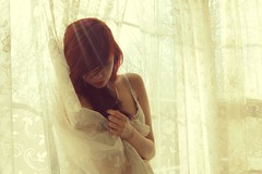 Such a waste of a young heart. (velvetveins) Tags: sunlight white jenna girl female vintage curtain peaceful calm pale teenager curtains serene redhair graceful porcelain lave
