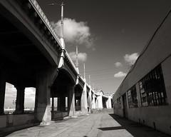 Sixth Street Bridge (avilon_music) Tags: california bridge bw 1932 la blackwhite losangeles alley bridges olympus warehouse southerncalifornia alleys losangelesriver sixthstreet lariver filmlocation downtownlosangeles sixthstreetbridge streamlinemoderne boyleheights laarchitecture historicla sixthstreetviaduct labridges olympuse510 viaductbridge markpeacockphotography avilonmusic
