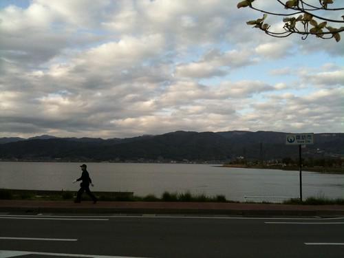 PC3 諏訪湖。相方復調。やっぱり自転車に乗ると風邪は治るらしい 。