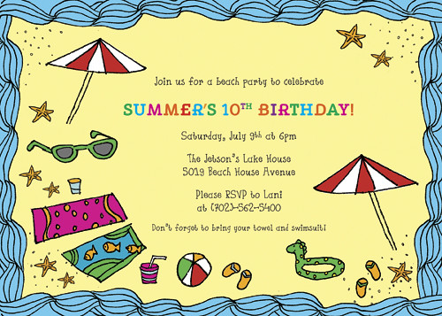 Beach Party Invitations, Beach Party Announcements, Summer Invitations, DIY Party Invitations, Personalized Invitations, Fun Beach Party Invitations, BBQ Pool Party Invitations
