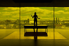 guthrie theater yellow room minneapolis (Dan Anderson (dead camera, RIP)) Tags: art glass minnesota silhouette yellow architecture river mississippi observation gold amber actors play view room minneapolis falls acting riverfront twincities goldmedal mn guthrie stanthony guthrietheater stonearchbridge nicolletisland millcity yellowroom stanthonymain dowlingstudio