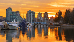 Sunset at Coal Harbor. (Vancouver, BC Canada) (Sveta Imnadze) Tags: cityscape vancouver bc canada stanleypark coalharbor reflection boats skyscrapers