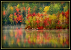 Cool October Morning (zphanjakidze2) Tags: 2007 autumn class colorful colorphotoaward cool coolpicture coolpictures damniwishidtakenthat lake maples mist morning october reflections trees worldsbest