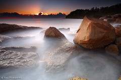 Sydney, Australia :: Whale Beach (-yury-) Tags: longexposure sea sky sun seascape beach water clouds sunrise canon landscape rocks sydney australia filter lee 5d northernbeaches whalebeach beachsunrise supershot abigfave