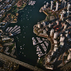 False Creek (ecstaticist) Tags: ocean urban canada water vancouver sailboat creek marina canon georgia boat ship bc pacific harbour young columbia aerial viaduct professional helicopter commute yaletown british rim false helijet fying g10