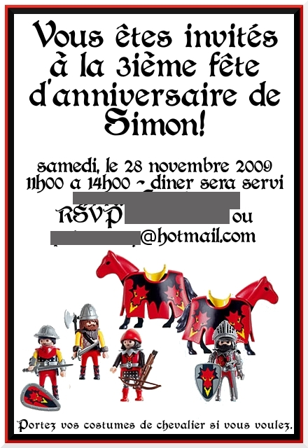 3rd birthday invite (french)