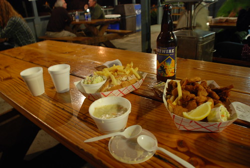 "fried shrimp and clams, a lobster roll, and chowder ""better than naked Twister"" at Neptune's Net"