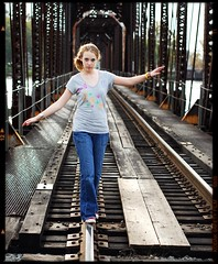 TRP: Any Given Sunday (Studio d'Xavier) Tags: railroad trestle vanishingpoint bokeh 8x10 balance railroadbridge 2009 chucks cliche balancebeam clich conversesneakers trp therogueplayers clichsarefun joiedelavie