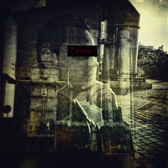 man Vs machine (Stathis Stavrianos (Stathis_1980)) Tags: old man texture film square design holga factory doubleexposure portait machine athens greece scratch squared textured gazi
