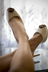 white (bethantics) Tags: highheels legs heels peeptoe peeptoes futab feetuptakeabreak guessheels