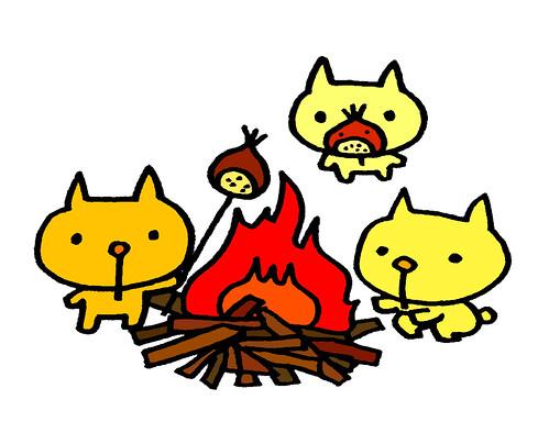 たき火で栗を焼く