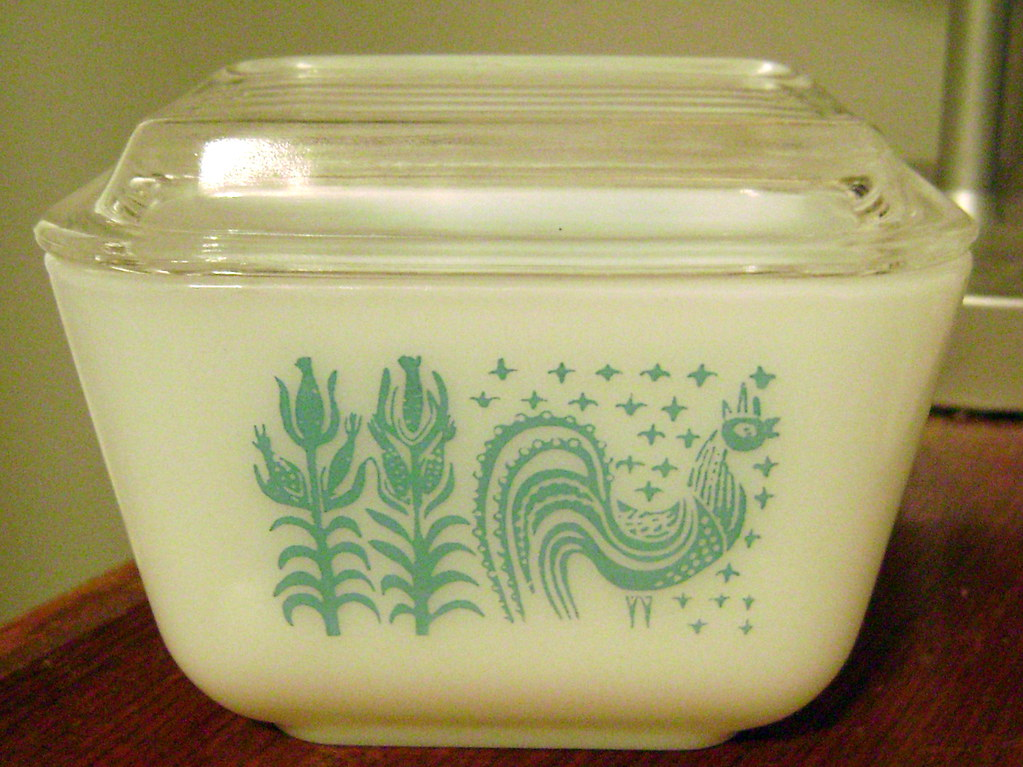 Pyrex Turquoise Butterprint Mini Fridge dish